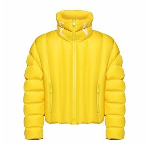 VERSACE Quilted Logo Yellow Puffer Coat NWT
